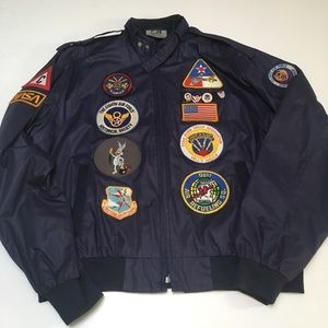 VTG 80s Custom Air Force Windbreaker Patches Blue